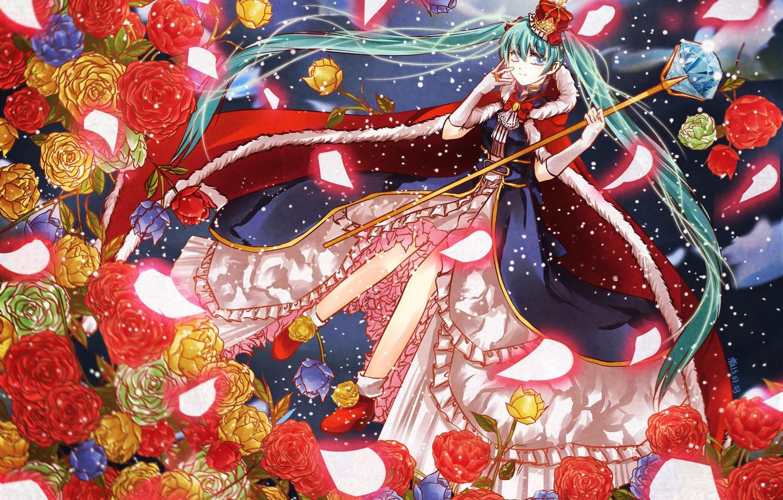 Фото обои кристалл, снег, магия, корона, мантия, vocaloid, жезл, Hatsune Miku, вокалоид, голубые волосы, кринолин, алые розы