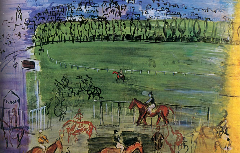 Фото обои France, 1950, Huile sur Toile, Raoul Dufy, Collection H.G., Le Champ de courses de Deauville, …