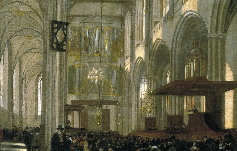 Фото обои Emanuel de Witte, Interior of the Nieuwe, ca1658, Нидерландская живопись., During a Service, Kerk in …