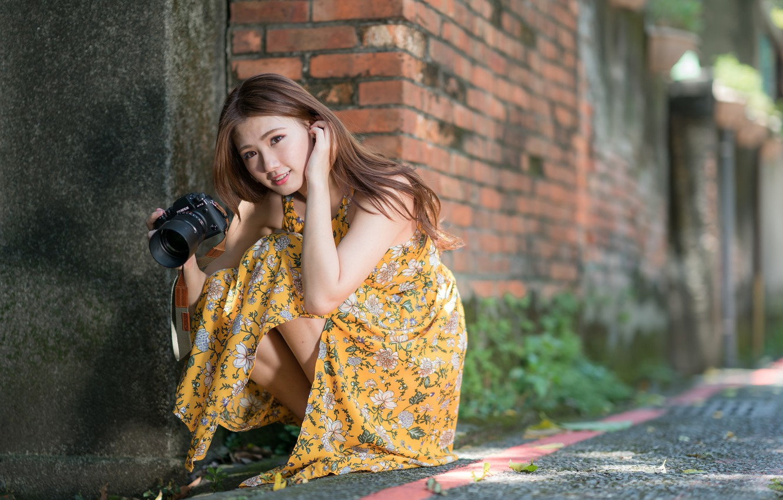 Фото обои лето, девушка, лицо, волосы, платье, ножки, фотик