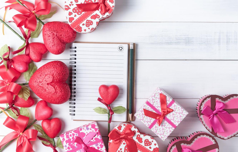 Фото обои любовь, сердце, подарки, сердечки, red, love, бант, box, heart, wood, romantic, valentine's day, gift