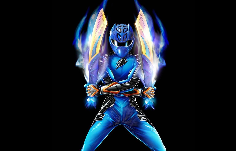 Фото обои костюм, черный фон, мечи, swords, Power Rangers, Blue Ranger