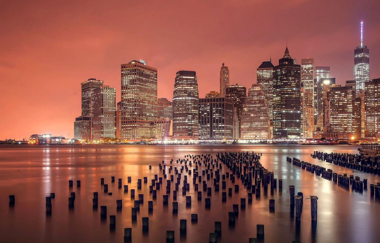 Фото обои City, Landscape, Manhattan, Sunrise, New-York, River