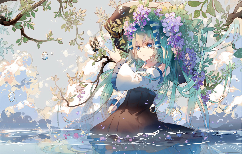 Фото обои девушка, цветы, фон, волосы, Вокалоид, Хатсуне Мику