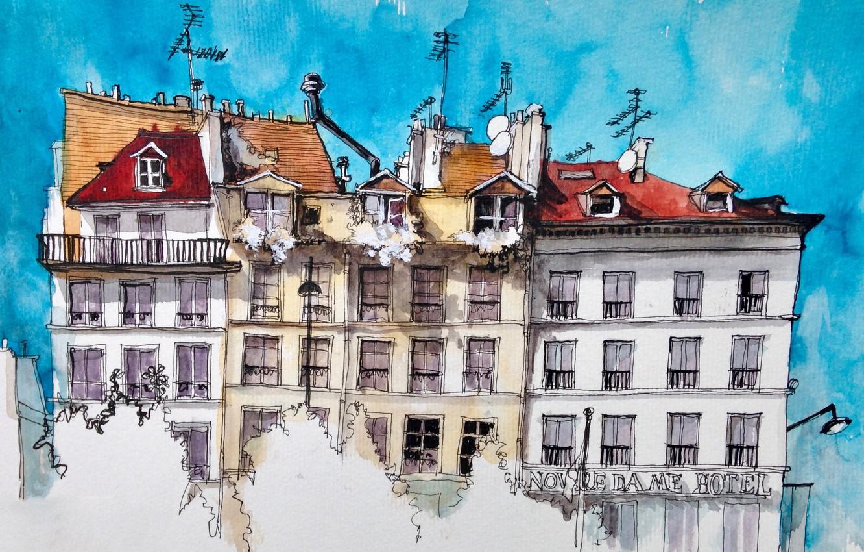 Фото обои город, рисунок, Париж, дома, акварель