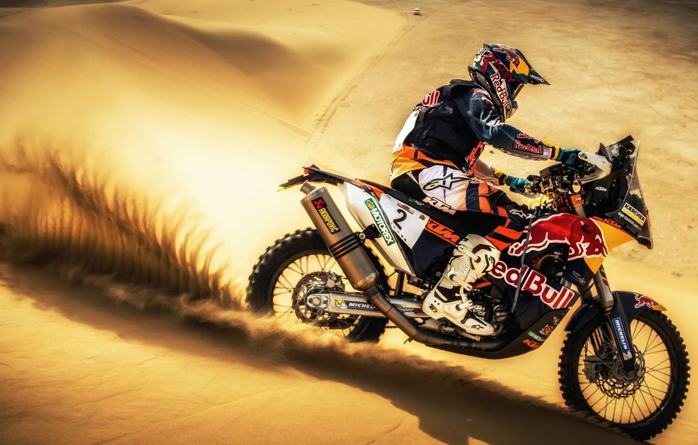 Фото обои Песок, Спорт, Пустыня, Скорость, Мотоцикл, Гонщик, Мото, KTM, Bike, Rally, Dakar, Дакар, Ралли, Moto, Motorbike