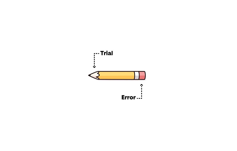 Фото обои minimalism, trial, error, illustration, humor, white background, simple background, Pencil, eraser