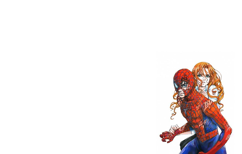 Фото обои girl, fantasy, green eyes, minimalism, blue eyes, boy, Marvel, couple, comics, redhead, artwork, mask, superhero, …