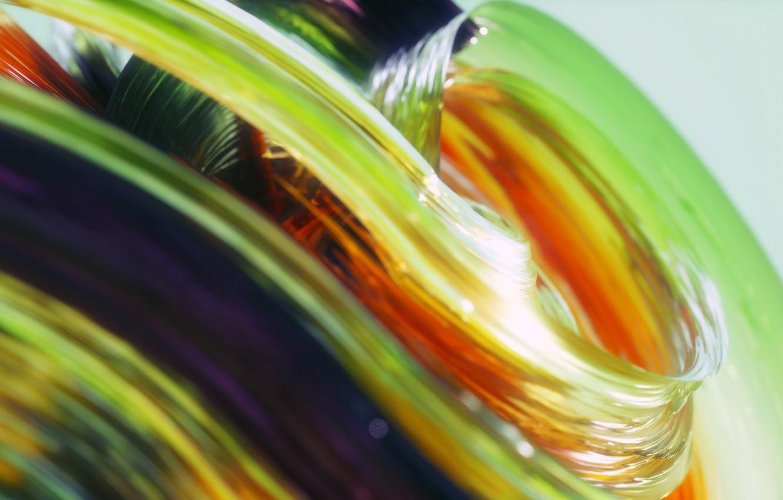 Фото обои стекло, макро, линии, краски, объем