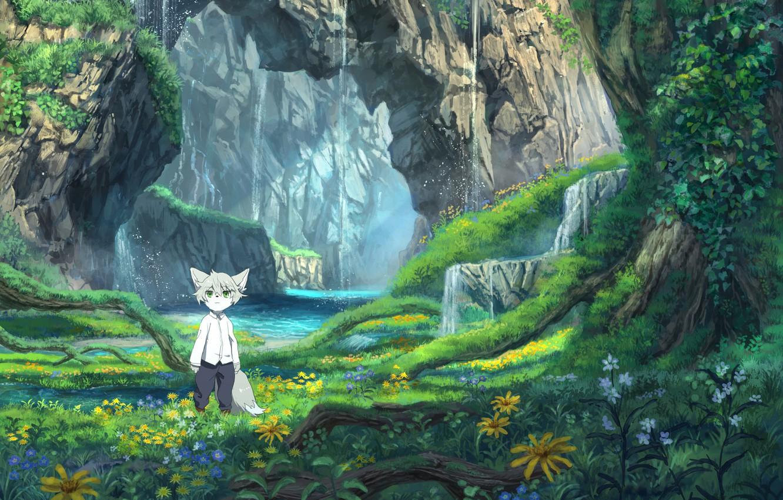 Фото обои пейзаж, природа, аниме, малыш