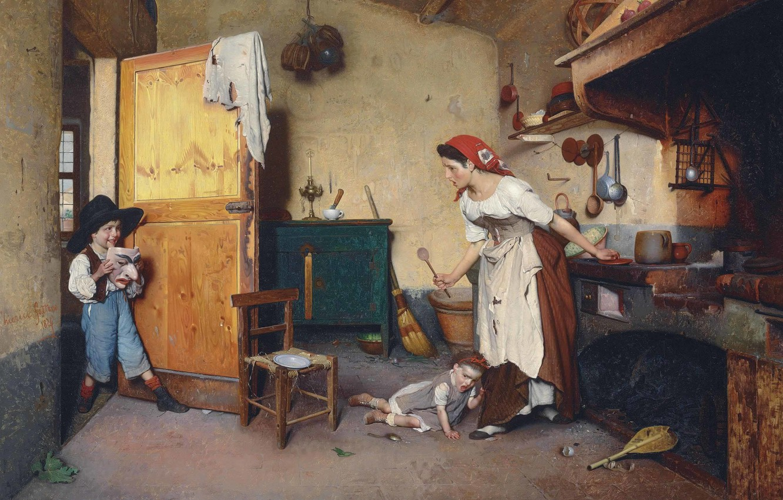 Фото обои Маска, итальянский художник, 1874, Italian painter, La Maschera, The mask, Гаэтано Чиерици, Gaetano Chierici