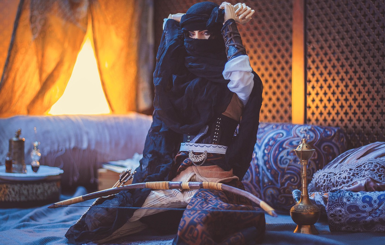 Фото обои игрушка, кукла, лук, восток, арабские мотивы