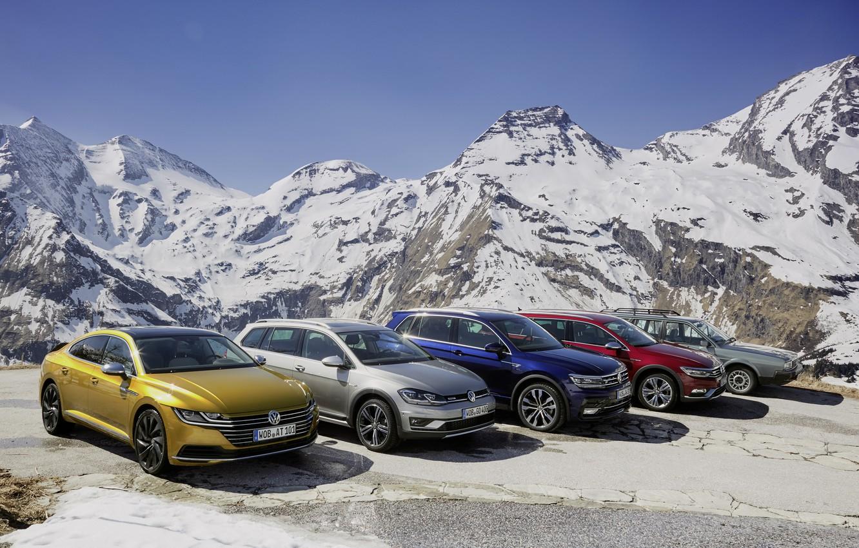 Фото обои горы, машины, природа, радуга, VolksWagen