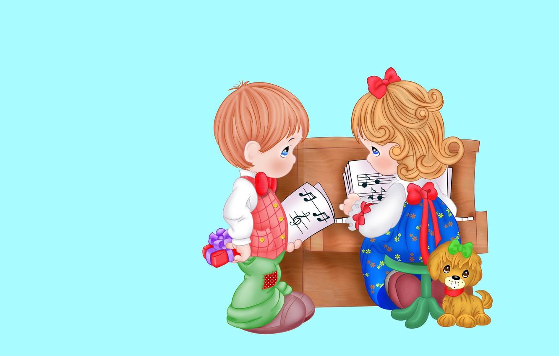 Фото обои ноты, музыка, праздник, подарок, вектор, мальчик, арт, дружба, пианино, собачка, детская, девочка.