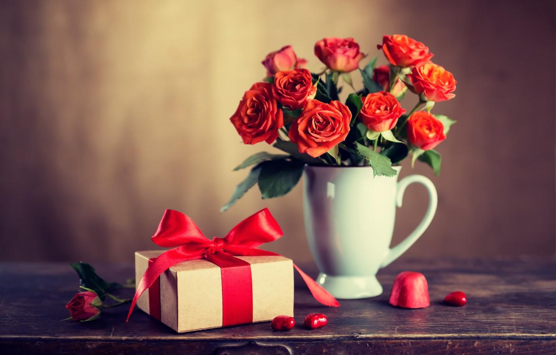 Фото обои любовь, цветы, подарок, розы, букет, красные, red, love, wood, flowers, romantic, Valentine's Day, gift, roses