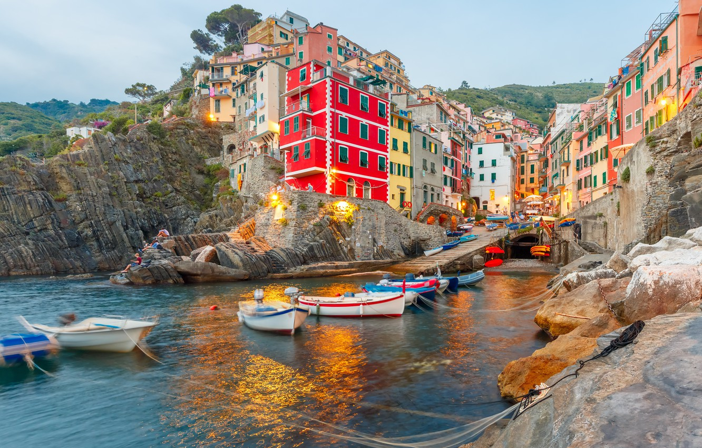 Фото обои море, скалы, побережье, вилла, лодки, Италия, домики, Riomaggiore, travel