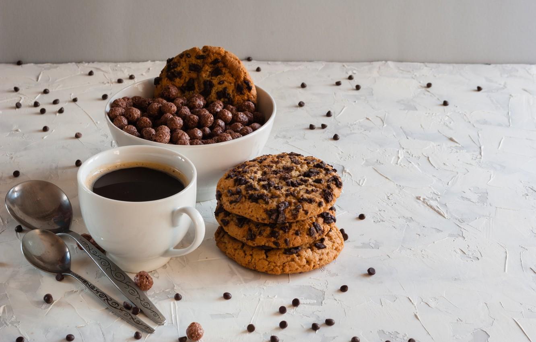 Фото обои шарики, кофе, завтрак, печенье, мед, ложки