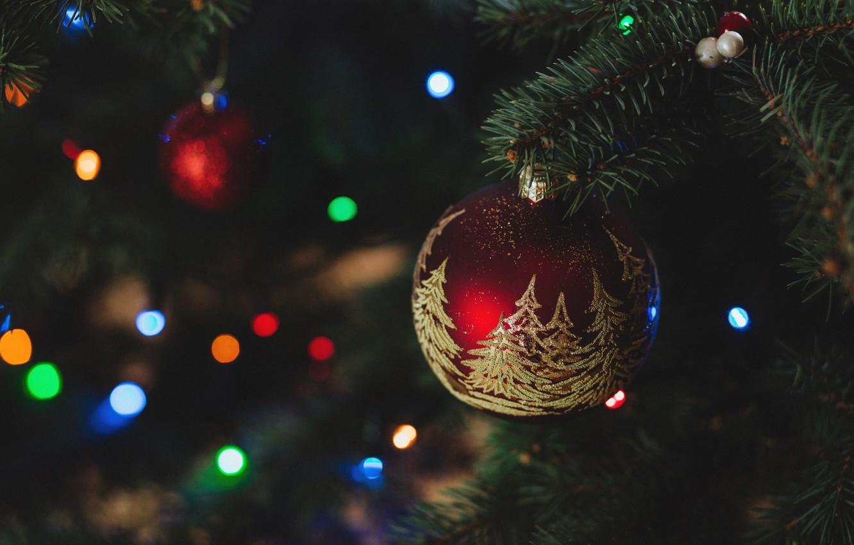 Фото обои праздник, елка, новый год, рождество, шарик, украшение, christmas, new year, гирлянда