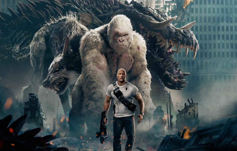 Фото обои City, Action, Fantasy, Fire, Flame, White, Wolf, 2018, Dwayne Johnson, EXCLUSIVE, Movie, Kate, Film, Crocodile, …