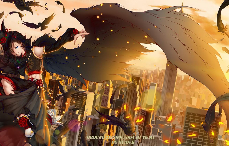 Фото обои крылья, перья, парень, ворон, тенгу