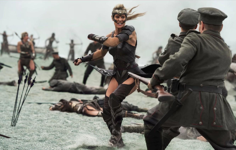 Фото обои cinema, gun, Wonder Woman, soldier, armor, weapon, man, movie, blonde, film, bow, rifle, warrior, DC …