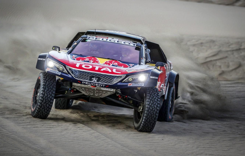 Фото обои Песок, Авто, Спорт, Машина, Скорость, Гонка, Peugeot, Фары, Red Bull, Rally, Dakar, Дакар, Внедорожник, Ралли, …