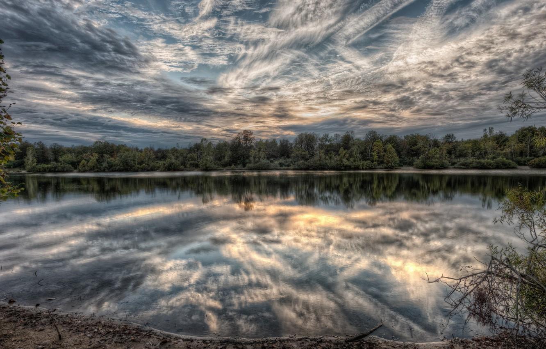 Фото обои небо, пейзаж, природа, озеро, красота