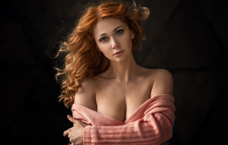 Фото обои взгляд, девушка, портрет, фотограф, свитер, Victoria, Dennis Drozhzhin