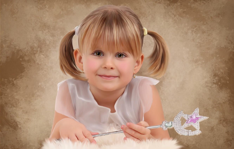 Фото обои взгляд, улыбка, девочка, волшебная палочка