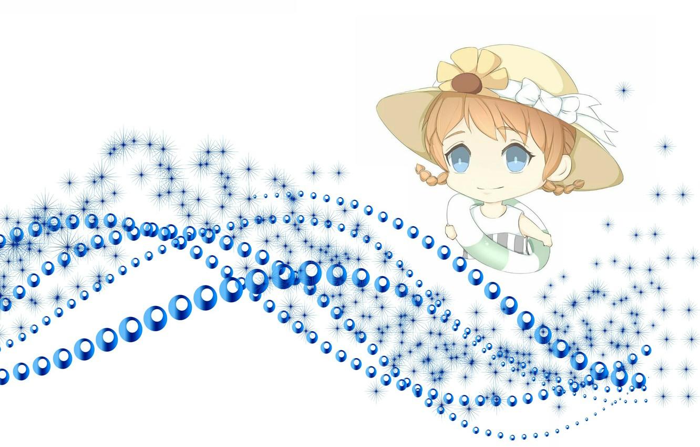 Фото обои море, лето, аниме, арт, девочка