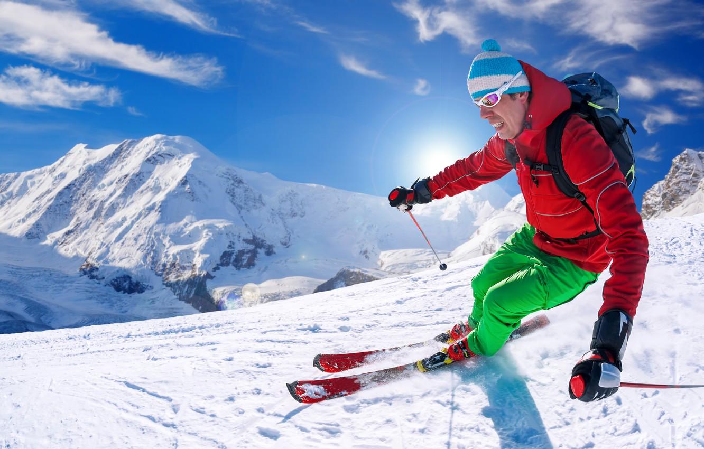 Обои лыжник, спуск, склон. Спорт foto 15