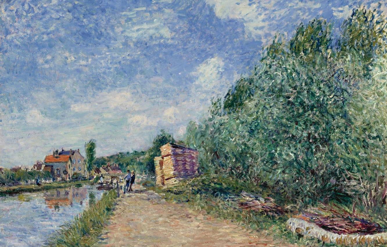 Фото обои пейзаж, дом, река, картина, Alfred Sisley, Альфред Сислей, The Loing Channel. Tow-Path