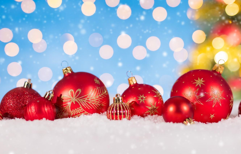 Фото обои зима, снег, украшения, снежинки, Новый Год, Рождество, Christmas, balls, winter, snow, bokeh, Merry Christmas, Xmas, …