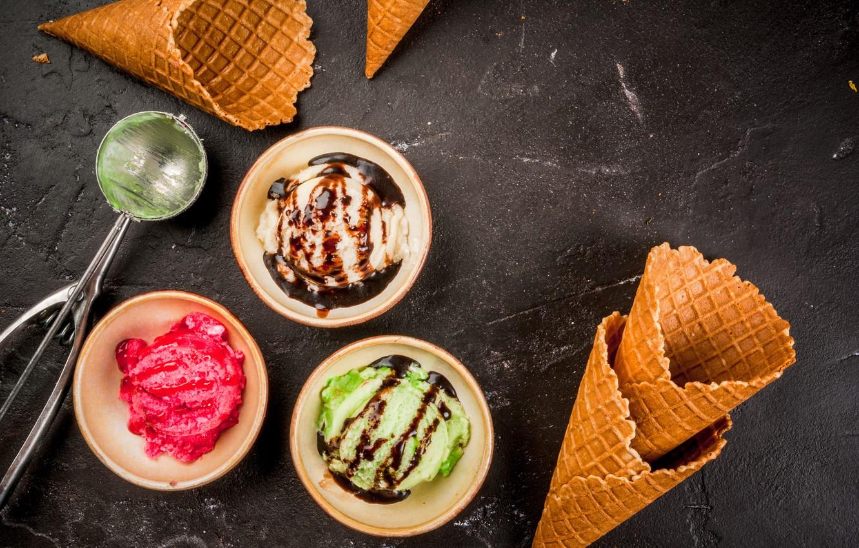 Фото обои мороженое, рожок, десерт, соус, вафля, ice cream