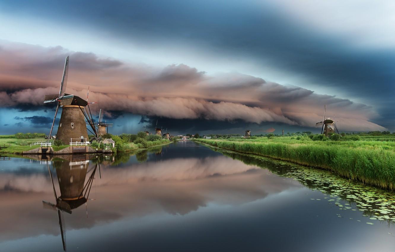 Фото обои небо, облака, тучи, река, облако, канал, мельницы, Нидерланды