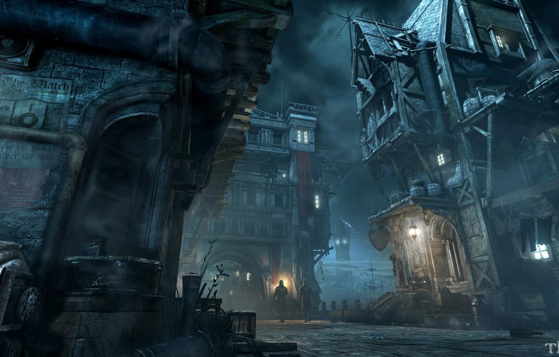 Фото обои ночь, город, здания, фонарь, Thief Screenshots