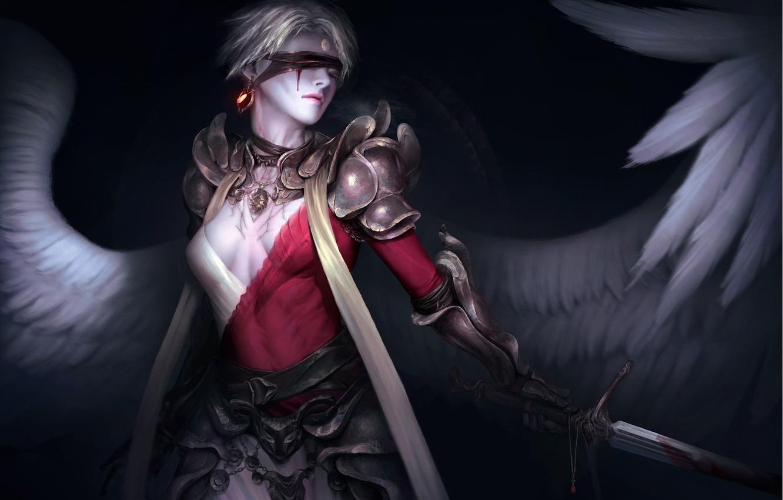 Фото обои оружие, фон, крылья, ангел, меч, фэнтези, арт, повязка