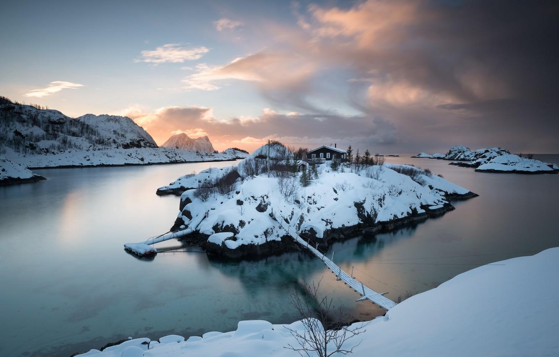Фото обои зима, мост, остров, Norway, Troms Fylke, Hamn