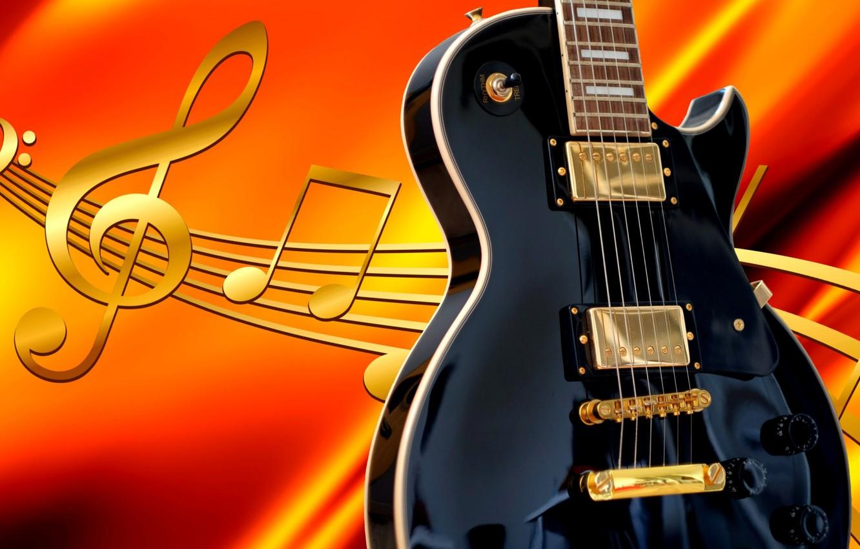 Фото обои ноты, гитара, рендер