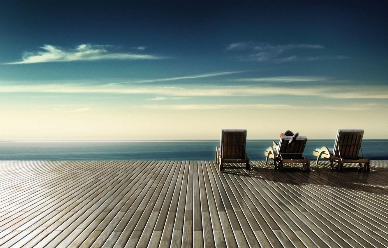 Обои терраса, бесконечность, бескрайность, отдых, кресла, Человек, безмятежность. Настроения foto 6