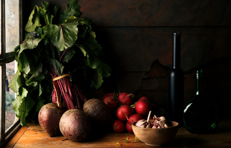 Фото обои овощи, чеснок, редис, свекла, Vegetables