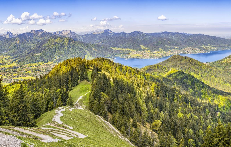 Фото обои Природа, Горы, Лес, Панорама, Альпы
