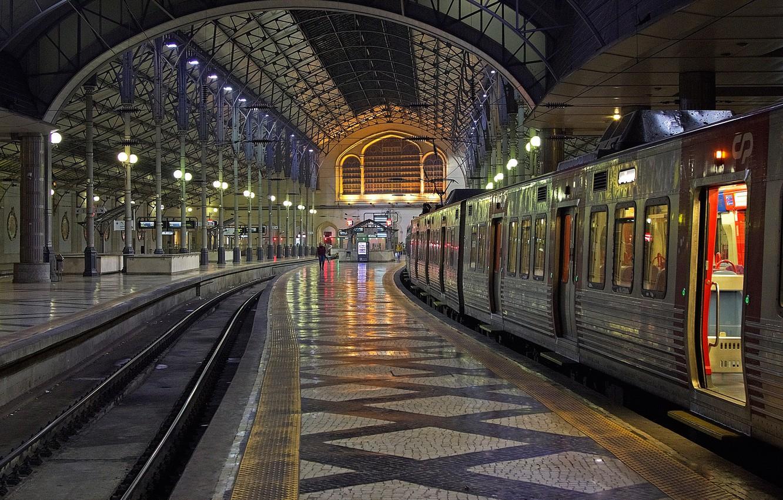 Фото обои вокзал, поезд, Португалия, Лиссабон, Росиу