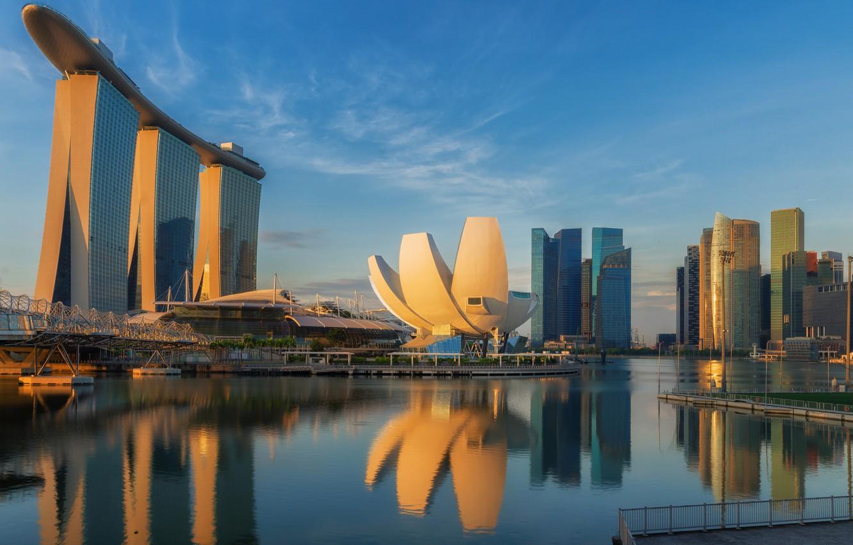 Фото обои lights, небоскребы, Сингапур, архитектура, мегаполис, blue, night, fountains