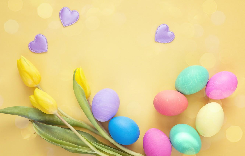 Фото обои цветы, весна, Пасха, тюльпаны, wood, flowers, tulips, spring, Easter, eggs, decoration, Happy, яйца крашеные