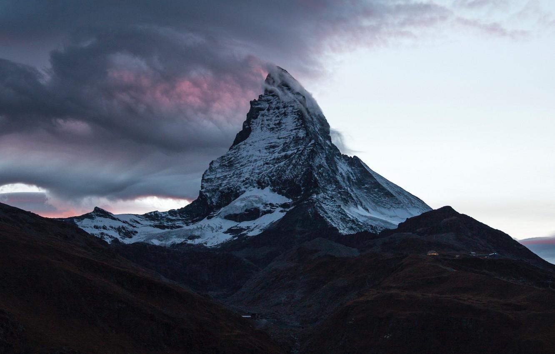 Фото обои облака, гора, Швейцария, вершина, Switzerland, mountain, Matterhorn, Ма́ттерхорн