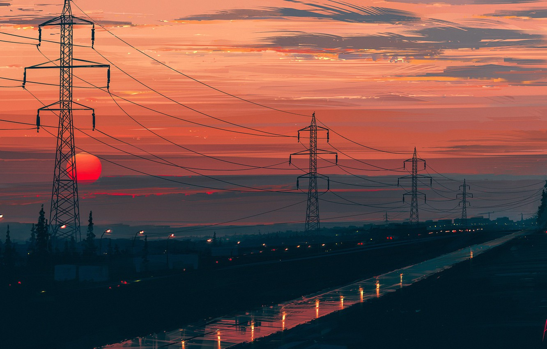 Фото обои дорога, солнце, пейзаж, закат, Aenami, Any Minute Now, лини электропередач, Alena Aenami, Алёна Величко
