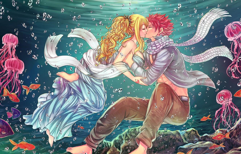 Фото обои любовь, пара, люси, нацу, хвост феи, Fairy Tail