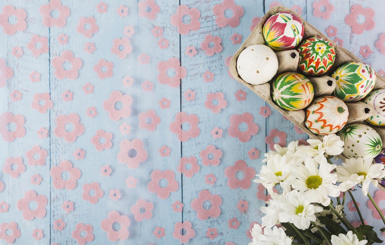 Фото обои яйца, весна, пасха, Праздник, Хризантемы