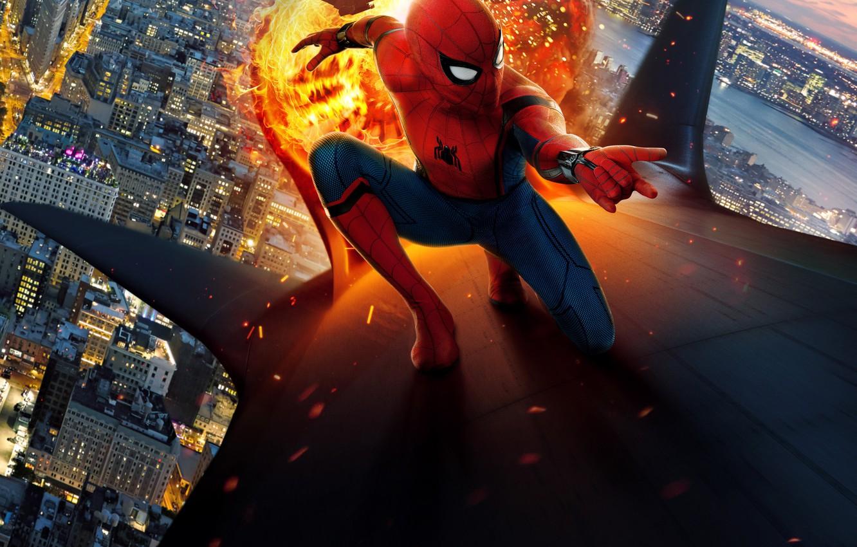 Фото обои new york city, spider man, film, peter parker, tom holland, spider man: homecoming